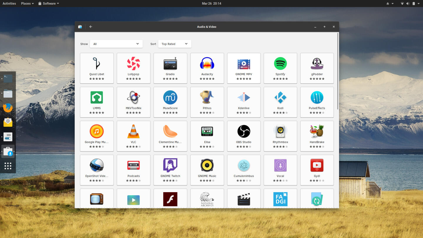 GNOME Software on Clear Linux 28210