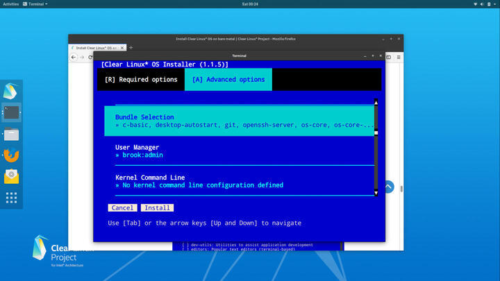 Clear Linux 28210 Review Supplement: Installation   ORDINATECHNIC