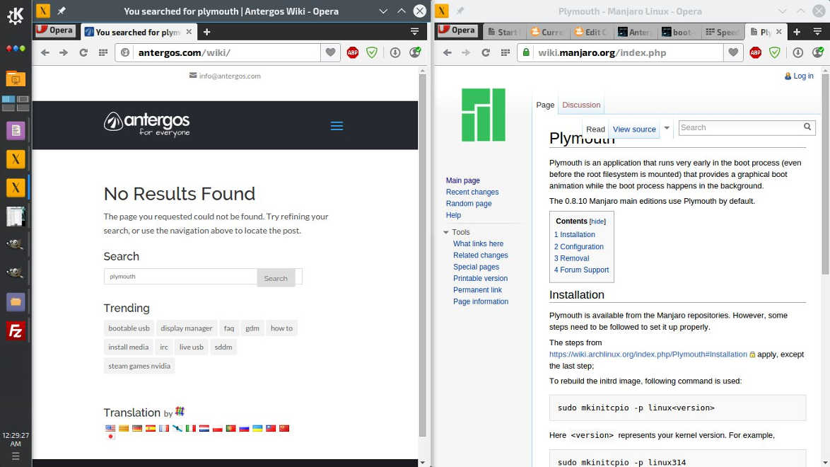 Antergos and Manjaro wiki search results for plymouth