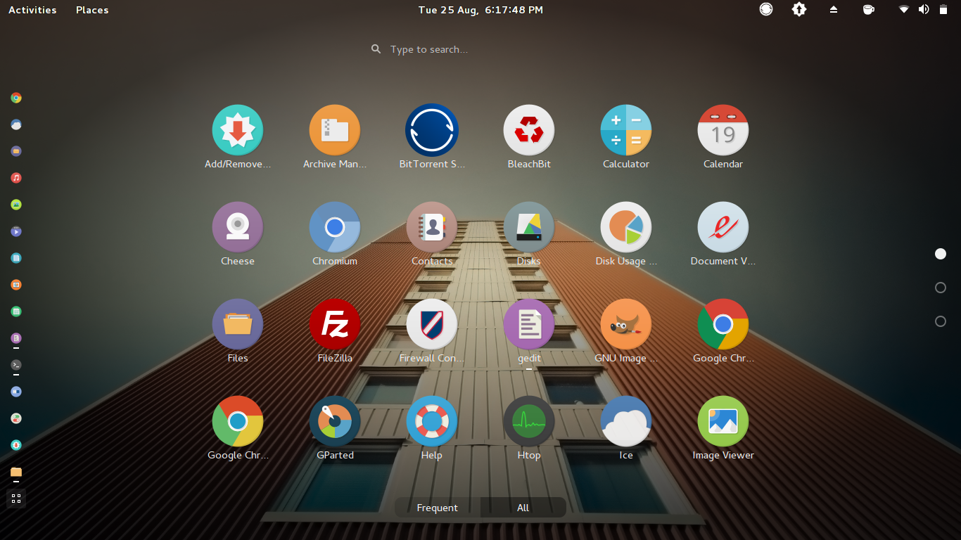 First Page of GNOME Shell All Applications View
