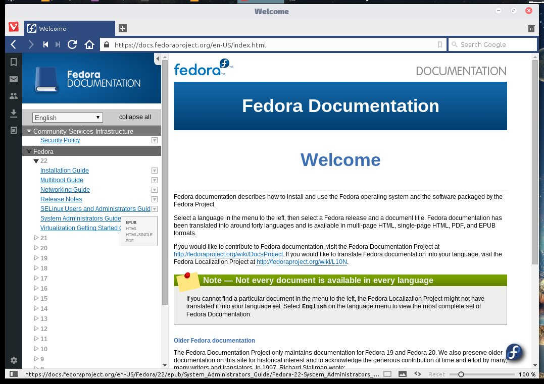 the Fedora Project documentation portal