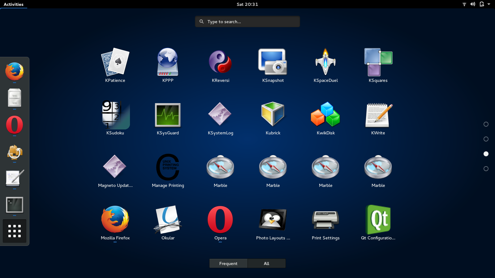 Some of the software installed by Sabayon by default, shown in GNOME
