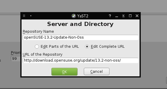Repository URL and Name Editing Dialog Box of YaST