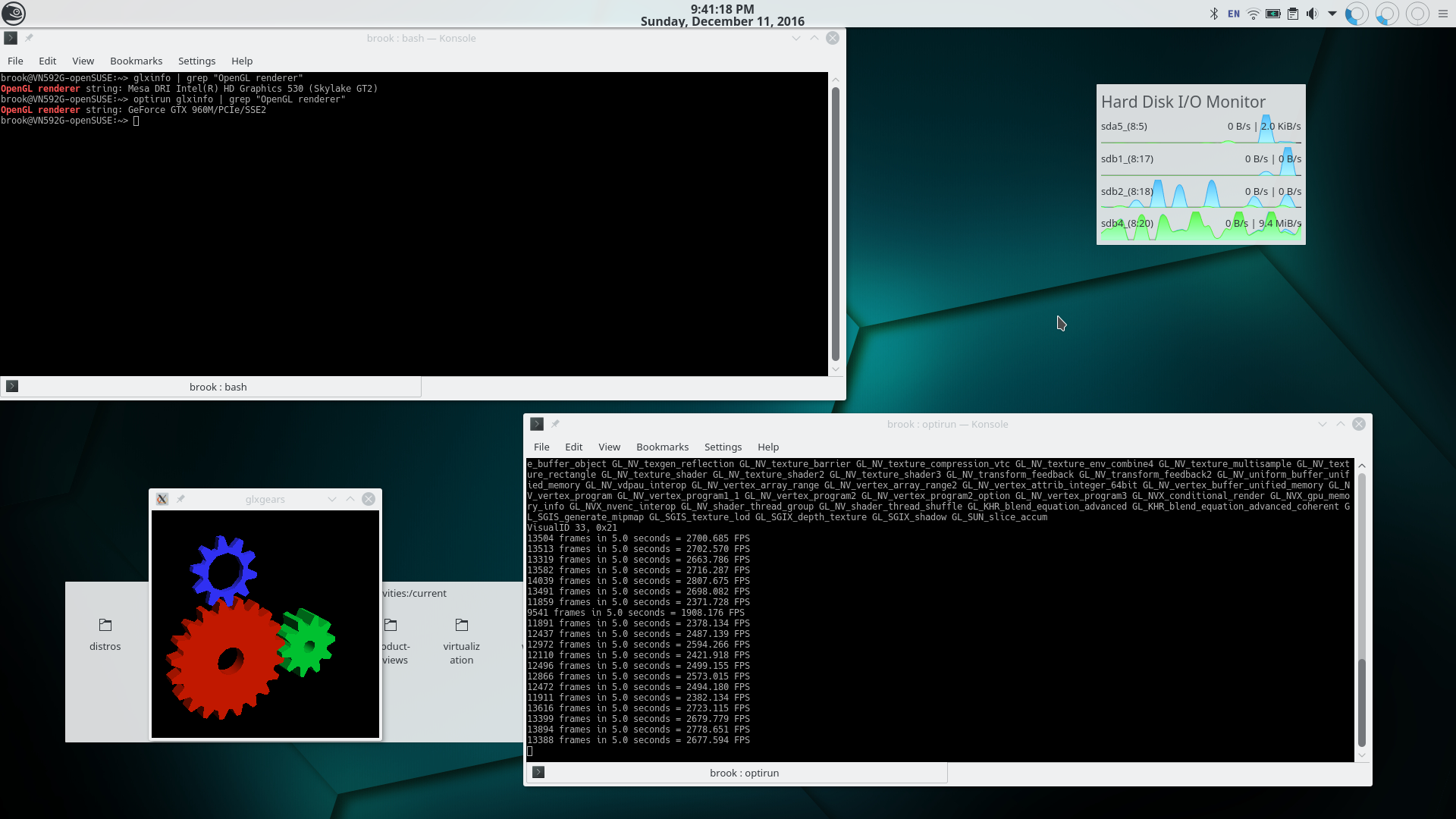 Verifying Proper Installation and Configuration of Intel/Nvidia Hybrid Graphics on openSUSE Tumbleweed. The screenshot shows openSUSE Tumbleweed with KDE Plasma 5. In the top left corner a <samp>Konsole</samp> terminal is showing the output of glxinfo | grep 'OpenGL renderer' and glxinfo | grep 'OpenGL renderer'. In the first case glxinfo is using the default graphics processor and shows that the Intel HD Graphics 530 is the 'OpenGL renderer'. In the second case glxinfo shows that the 'OpenGL renderer' is the [Nvidia] GeForce GTX 960M -- the discrete processor. The <samp>Konsole</samp> terminal at the lower right shows the framerates when using the discrete graphics card -- over approximately forty times higher framrates.