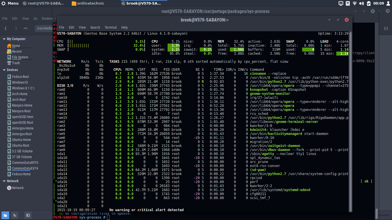 the newly built and installed glances running in GNOME Terminal Sabayon 15.10 Cinnamon
